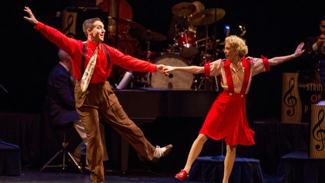 """""""In the Mood"""" includes 1940s-style big band jazz and swing dancers."""