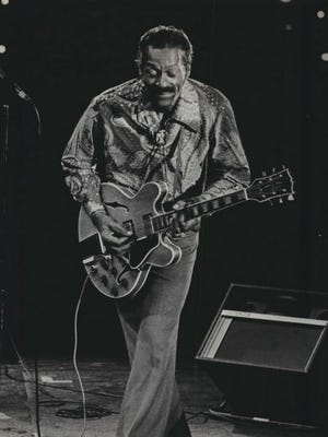 """""""The Father of Rock 'n' Roll,"""" Chuck Berry, performs at Summerfest in 1977."""