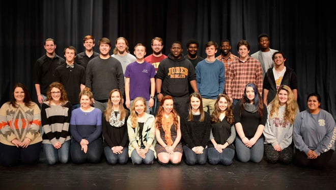 Cast members are pictured left to right in the front row: Roxie Hudgins, Morgan Scott, Katie Garretson, Lauryn Easley, Hanna Lester, Lydia Myers, Jenna Smith, Victoria O'Quin, Mikaela Malone, Hannah Hankins and Rohini Malkani.  Second row from left: Jordan Sanders, Austin Perkins, Chip Cooley, DeJuan Sam, Tanner Crabtree, Reagan Arnold and Dominic Vellon. Third row from left: James Moss, Steve Jones, Reed Schaub, Harlan Mapp, Gary Young, Ricky Chambers and David Walker.