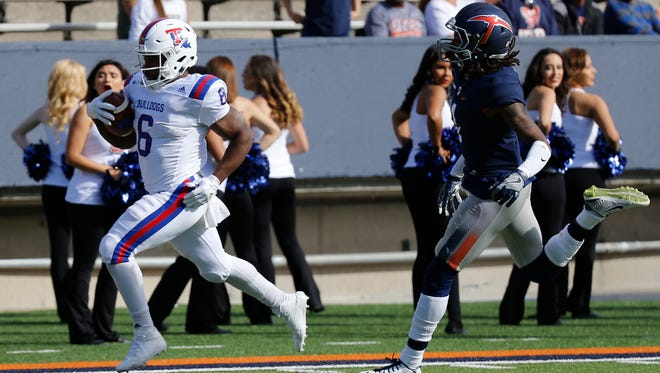 La Tech running back Boston Scott beats a UTEP defender as he walks into the end zone during second quarter action in their game Saturday afternoon, the Bulldogs would hand UTEP it' eleventh straight loss of the season 42-21.