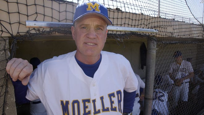 Moeller baseball coach Mike Cameron stands in the Crosley Field-Blue Ash dugout in 2005. He coached 2012 Hall of Fame inductee Barry Larkin and Ken Griffey Jr., who should be a first-ballot selection in 2016. File Photo 2005.0408.13.ditphoto-Moller-Moller Head baseball coach Mike Cameron on Fri April 8, 2005. As he stands out the dugout at Crosley Field in Blue Ash before this teams game with La Salle.C-E photo by Ernest Coleman for sports