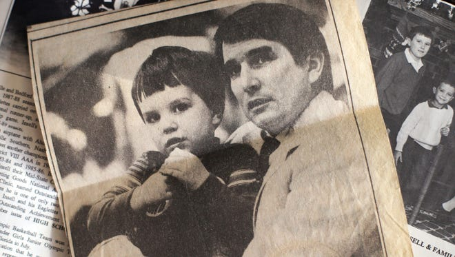 A newspaper clipping from the mid 80's shows Rick Insell with his son Matt that appeared in the Shelbyville Times-Gazette.