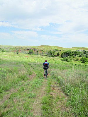 Noah Easterling of Prairie Village said he enjoyed the difficult terrain for biking in the Red Hills near Medicine Lodge, part of the 2020 Open Range Gravel Tour.
