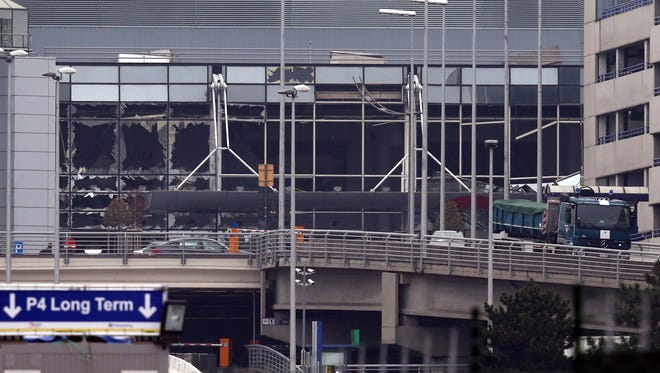 The bomb-damaged departure hall area of Brussels airport is pictured on March 24, 2016 in Brussels, Belgium.