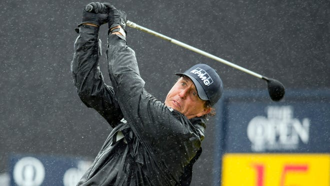Phil Mickelson tee's off on the 15th during the second round of the 145th Open Championship golf tournament at Royal Troon Golf Club - Old Course.