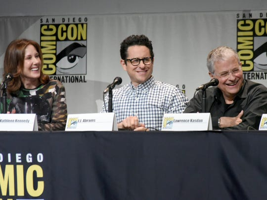 Kathleen Kennedy, from left, J.J. Abrams, and Lawrence
