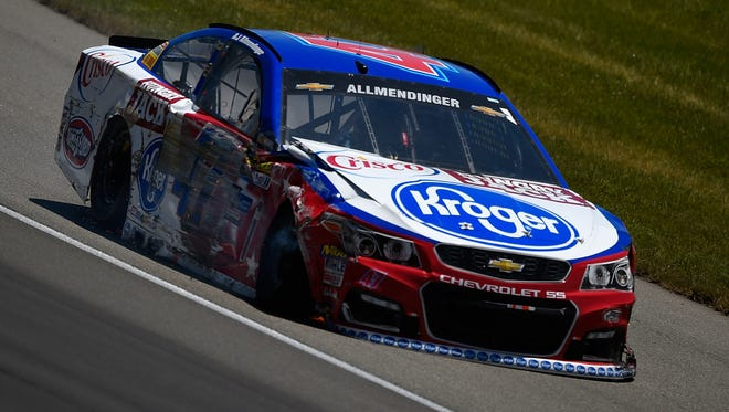 AJ Allmendinger, driver of the #47 Kroger/Hungry Jack/Crisco Chevrolet, drives to pit road after an on-track incident during the NASCAR Sprint Cup Series FireKeepers Casino 400 at Michigan International Speedway on June 12, 2016 in Brooklyn, Michigan.