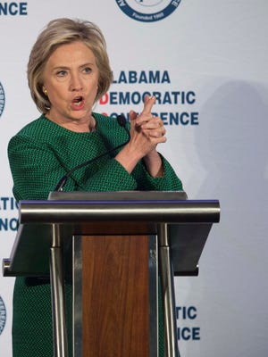 Democratic presidential candidate Hillary Clinton speaks during the Alabama Semi-Annual Democratic Conference on Saturday, Oct. 17, 2015, at the Hyatt Regency Wynfrey Hotel in Hoover, Ala