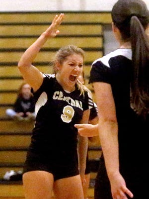 Central's Kendell Hughes (9) celebrates a point during a recent match. Hughes had five kills and nine assists in a 3-0 win over Marshall County in the 9-AA tourney Monday.
