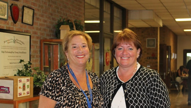 Retired assistant principal and longtime Highland educator Roseann LaManna, left, turned the reins over to Kathleen Sickles for the 2014-15 school year.