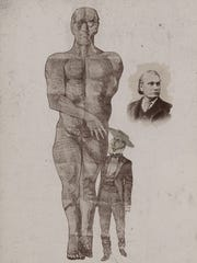 An ad made by John Rankin showing Rankin, George Hull and the Giant, around 1870.