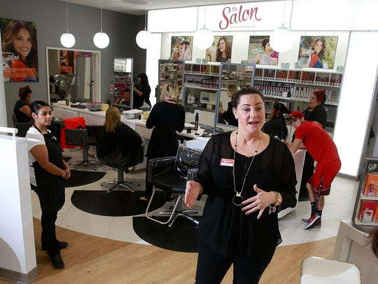 Amanda Matherly, store manager of the new Ulta Beauty store in Farmington, talks about the store on Wednesday.