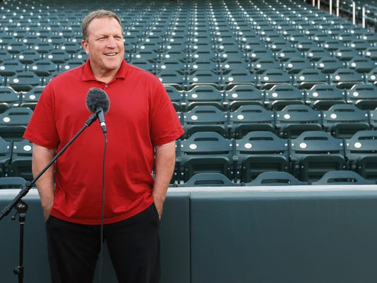 MARK LAMBIE—EL PASO TIMES Former Chihuahuas manager Pat Murphy addressed members of the media during media day before the start of the 2015 season.