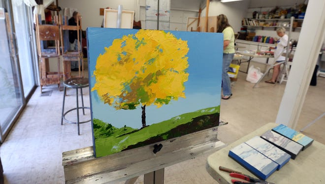 Work in progress in a painting class at the Rockland Center for the Arts in West Nyack June 27, 2016.