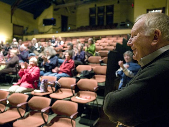 Vermont author Howard Frank Mosher laughs as he is