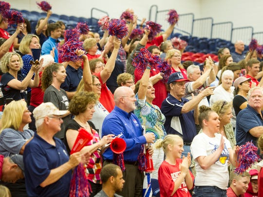 The crowd cheers on the 2018 USI Softball team during
