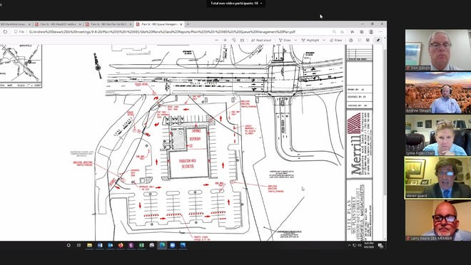 Norwell attorney Steven Guard presents a traffic flow plan for a proposed retail marijuana dispensary on Plain Street in Marshfield during a Sept. 8, 2020 Zoom meeting.