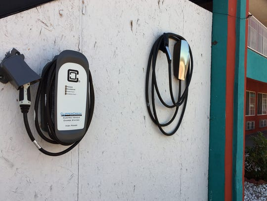 A charging station is shown at the Sandia Peak Inn