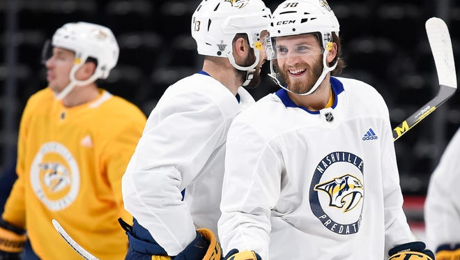 Nashville Predators right wing Ryan Hartman (38) during the morning skate before game 4 of the first round NHL Stanley Cup Playoffs at the Pepsi Center, Wednesday, April 18, 2018, in Denver, Colo.