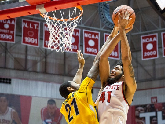 Ball State's Trey Moses takes the shot Tuesday evening