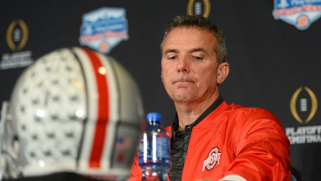 Ohio State Buckeyes head coach Urban Meyer during his post-Fiesta Bowl press conference.