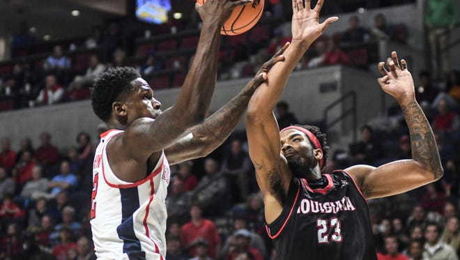 Marcanvis Hymon (2) recorded his third-career double-double with 12 points and 13 rebounds in Ole Miss' win over Louisiana Friday night.