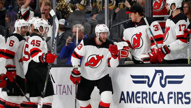 New Jersey Devils right wing Stefan Noesen (23) celebrates after scoring against the Vegas Golden Knights during the second period of an NHL hockey game Wednesday, March 14, 2018, in Las Vegas.