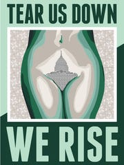 "Niki Johnson and Christian Westphal's poster, ""We Rise,"" will debut at the Women's March on Washington. ""We Rise"" is inspired by Johnson's recent artwork ""Hills & Valleys,"" made out of the signage from Planned Parenthood health care centers, which were defunded in Wisconsin."