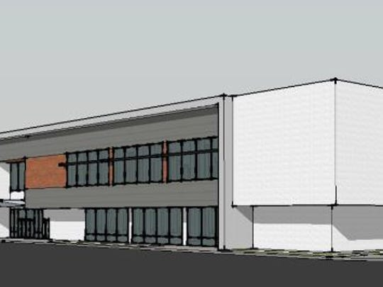 An elevation showing the building Bridgestone Americas will occupy.