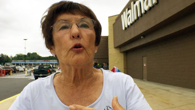 Sylvia Troust, Fayetteville, talks about the guy who stole her purse and the group of Walmart shoppers who prevented the thief from leaving the parking lot around noon on Wednesday, May 30, 2018 in Chamberssburg.