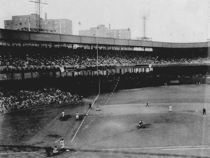Bobby Thomson of the New York Giants hits the National League pennant-winning home run at the Polo Grounds against the Brooklyn Dodgers in a playoff game Oct. 3, 1951.