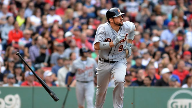 Tigers third baseman Nick Castellanos hits a ground-rule double in the fourth inning of the Tigers' 5-1 win Saturday in Boston.