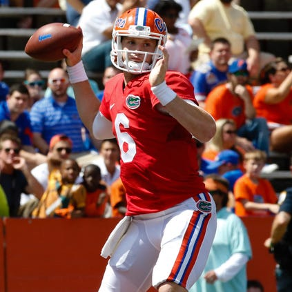 Apr 12, 2014; Gainesville, FL, USA; Florida Gators quarterback Jeff Driskel (6) during the second half of the spring game at Ben Hill Griffin Stadium.