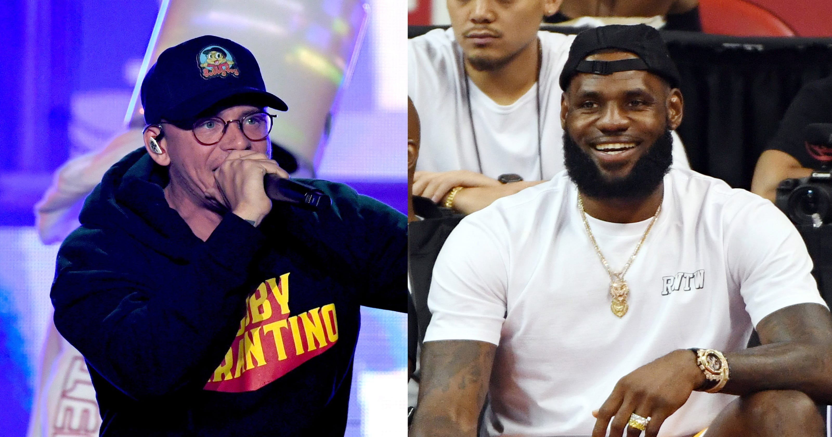 e0b272f1419a LeBron pumped to see rapper Logic rock his Lakers jersey at concert