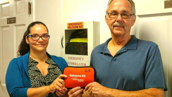 The Municipal Drug Alliance of Buena Borough-Buena Vista Township-Weymouth Township received Naloxone kits through the Atlantic County Municipal Alliance. The kits are used in drug overdose emergencies and will be placed in various locations. In Buena Vista, they will be located at Township Hall, the Dr. Martin Luther King Community Center and the Public Works Department. John Armato, a Buena Vista township committeeman who chairs the Municipal Alliance based in Buena Vista, and Gia Haws, program coordinator, display one of the kits.