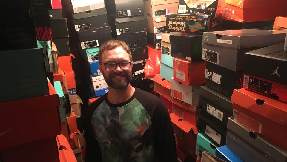 Nick Kaun stores his shoes in their original boxes.