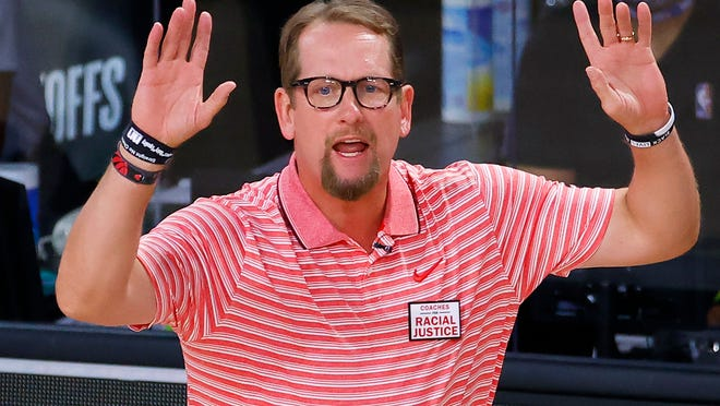 Toronto Raptors coach Nick Nurse gestures during Game 1 of the team's NBA basketball first-round playoff series against the Brooklyn Nets, Monday, Aug. 17, 2020, in Lake Buena Vista, Fla.