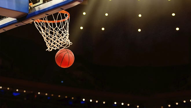 Basketball basket with all going through net.