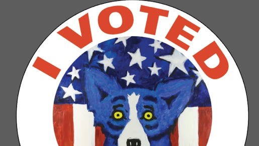 """Artwork for the new Louisiana """"I Voted"""" stickers, featuring George Rodrigue's iconic Blue Dog."""