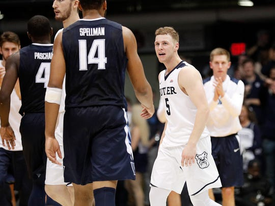 Butler Bulldogs guard Paul Jorgensen (5) smiles as he walks off the court during a timeout in the second half of their game at Hinkle Fieldhouse Saturday, Dec. 30, 2017. The Butler Bulldogs defeated the Villanova Wildcats 101-93.