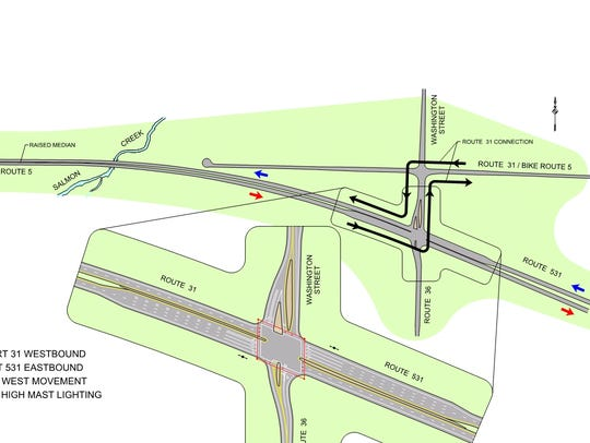 An illustration of the proposed conventional intersection