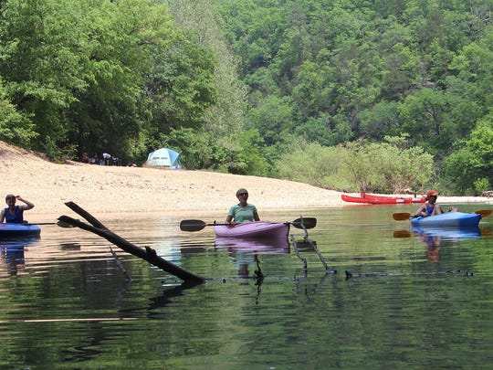 Shoreline camping and paddling draw thousands to the Jacks Fork River in the National Park Service's Ozark National Scenic Riverways.