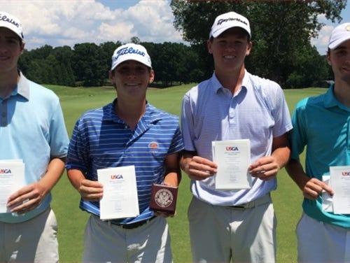 Roberson rising senior Matt Sharpstene, second from right, qualified for the U.S. Junior Amateur golf tournament on Wednesday in Asheboro.
