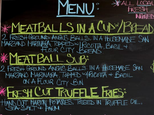 The menu from the The Meat Ball Co. food truck during XRIJF 2014.