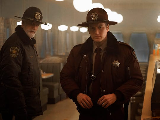 "Ted Danson as Hank Larsson (left) and Patrick Wilson as Lou Solverson in the second season of ""Fargo."""