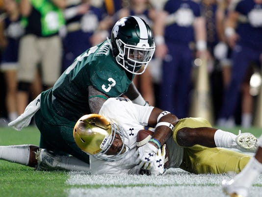 Notre Dame at Michigan State, LJ Scott fumble