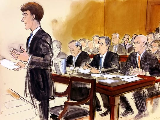 In this courtroom sketch, President Donald Trump's
