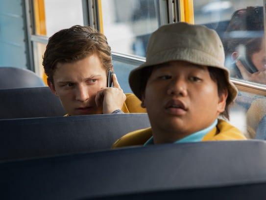 Peter (Tom Holland, left) and Ned (Jacob Batalon) make