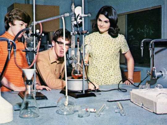1968: a group of students participates in a lab activity at Salisbury University.