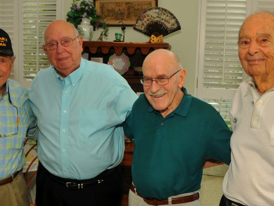 Four of the five remaining workers who worked on the original Redstone all got together at Ike Rigell's home in Titusville on Wednesday morning: (Left to right) Ike Rigell, Curtly Chandler, Bill Grafton and Reed Barnett.